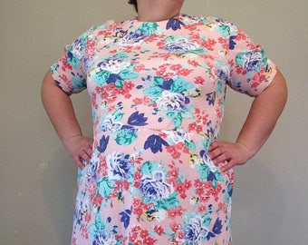 1990s pink dress plus size pink dress vintage floral dress VTG vintage dress XL pink dress floral knit dress short sleeve XL dress