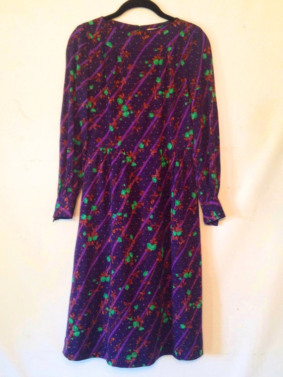 vintage 1970s dress purple and green dress small v