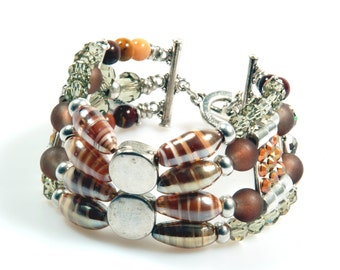 Cuff bracelet beaded in brown and silver color with Swarovski, bracelet Murano glass and gemstone - boho chic jewelry  SALE