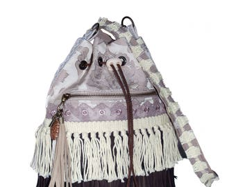 Bohemian bucket bag with fringe in brown and ecru - boho style one of a kind handmade bags - woman gifts - western, native American style