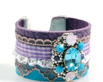 Gypsy leather cuff in turquoise and purple with Swarovski Crystals - unique Ibiza bracelet with ribbon and lace with concho