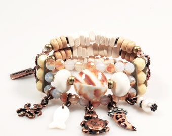 Charm bracelet beach style- brown, natural bracelet - charms: fish, octopus, shark tooth, turtle - multi strands bracelet - shells, coconut
