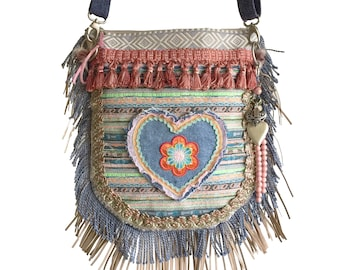 Boho crossbody with heart, boho bag with fringes, one of a kind gift for woman, shoulder purse Ibiza style, pastel colors bag