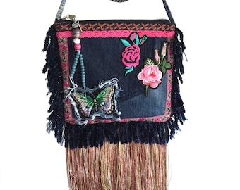 Festival purse fringed, recycled jeans crossbody , mini bag roses butterfly, small pouch patches, mini purse blue fuchsia, handmade bags