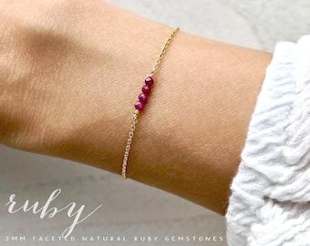 Encouragement Gift Raw Ruby Bracelet July Birthstone Silk Wrap Bracelet