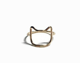 Cat Ring - Gold Cat Ring - Cat Lover Gift - Cat Jewelry - Cat Lady Gift - Sterling Silver Ring - Simple Ring