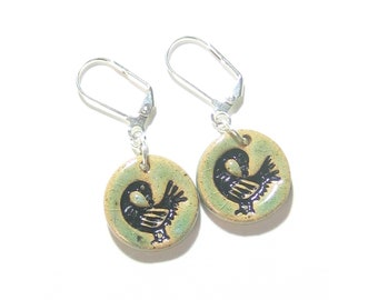 Black Sankofa Bird Earrings, Sterling Silver Leverbacks, Clip Ons, Ethnic Jewelry,  Artisan Ceramic Jewelry, Pottery, Handcrafted, Gift