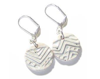 White Geometric Stoneware Disc Earrings, Sterling Silver Leverbacks, Clip Ons, Boho Jewelry, Gift Idea, Artisan Ceramic Earrings