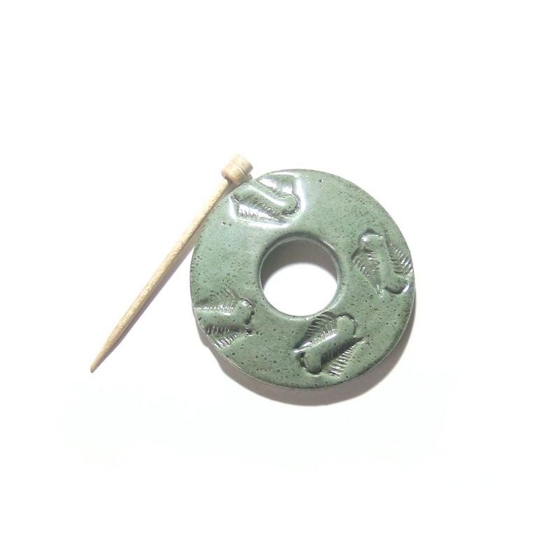 Gift Idea Sage Green Fern Scarf Pin Ready to ship Sweater Closure Shawl Pin Earthy Jewelry Artisan Pin Knitwear Accessory