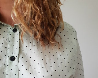 Vintage Mint Green Polka Dot Blouse 001e6f3f5fb29