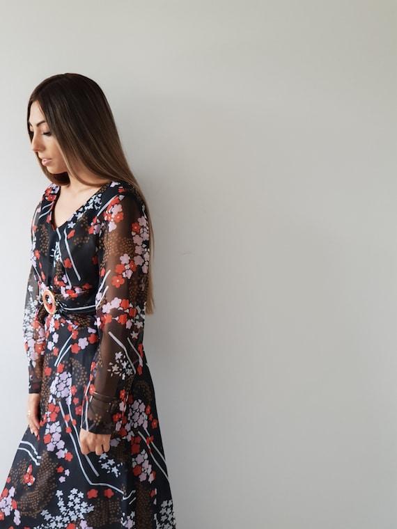 70s Vintage Maxi / Boho /  Floral Chiffon Dress