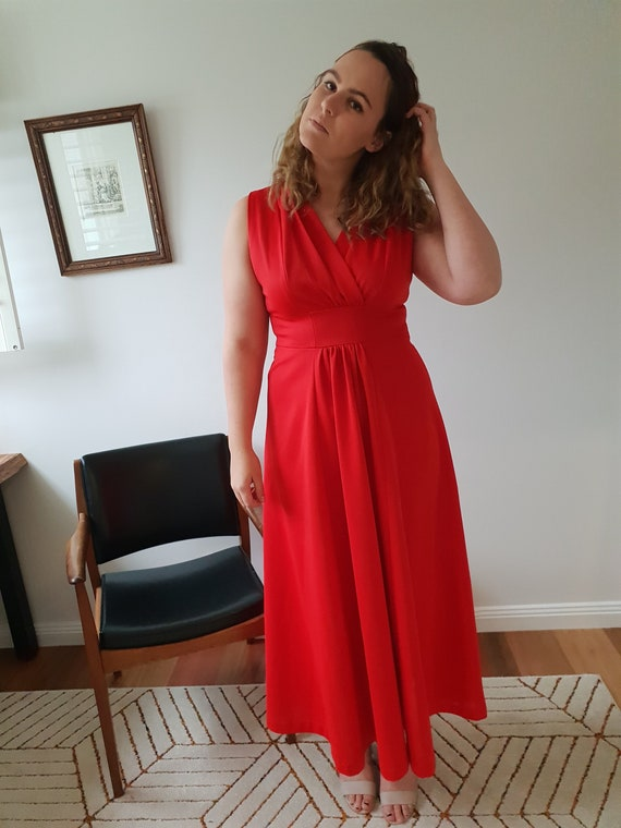 70s Vintage Red Formal Maxi Dress / Gown