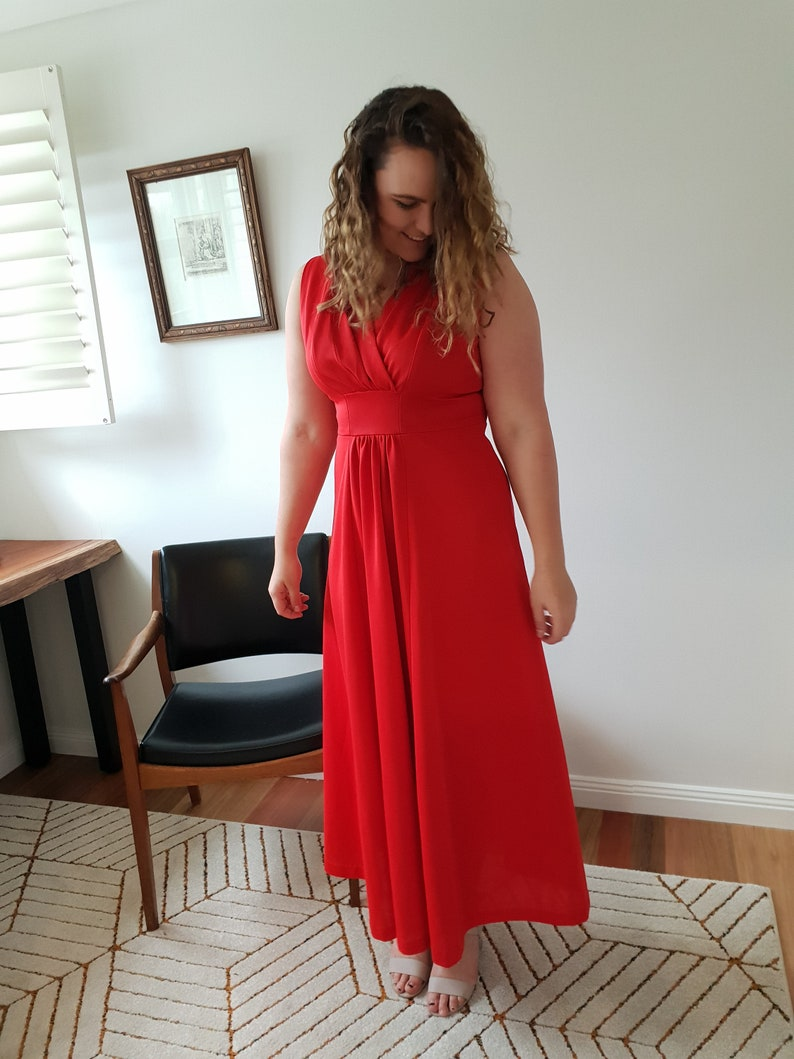 70s Vintage Red Formal Maxi Dress  Gown