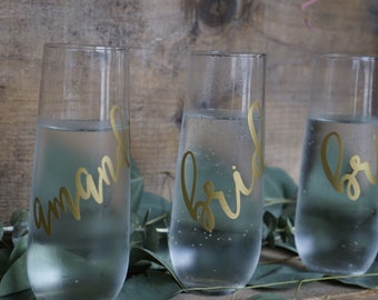 Personalized Champagne Glasses - Champagne Flutes, Custom Wine Glass, Monogram glasses, Monogrammed Wedding Glass, Stemless Wine Glass