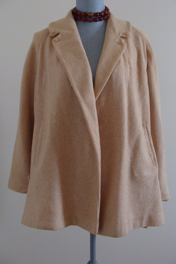 Late 40's Camel/Golden Tweed Swing Coat