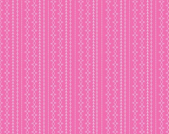 Riley Blake Fabric Floriography Stripes Pink - One Yard - Floral Fabric
