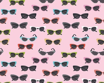Riley Blake Fabric Novelty Glasses Pink - One Yard