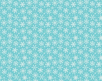 Riley Blake Fabric Santa Express Santa Snowflake Blue - 1 Yard