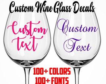 wine glass decal etsy
