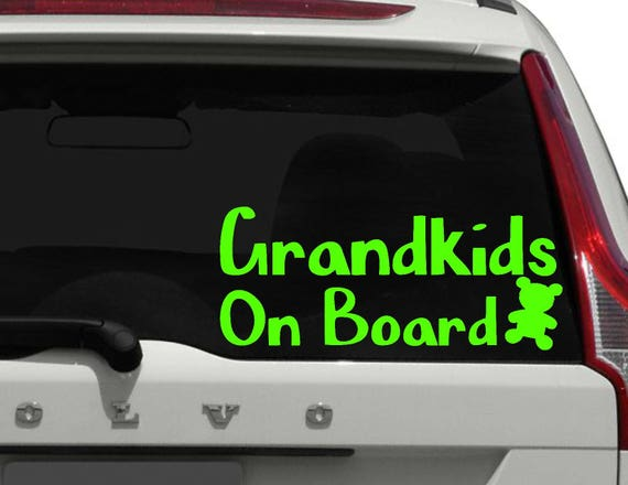 Family sticker vinyl car window decal Grand-Ma on board Pregnancy announcement grandparents Baby on board sign Nanny on duty Decal