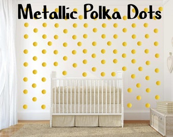 Gold Polka Dots Peel and Stick Silver Polka Dot Bronze Wall Decals For Kids Rooms, Nursery Decor, Bedrooms, Wall Sticker Decor Metallic Dots