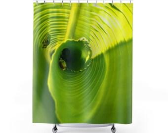 Tree Frog Shower Curtain Banana Leaf Green Floral Elegant Colorful Art Classy Fabric Bathroom