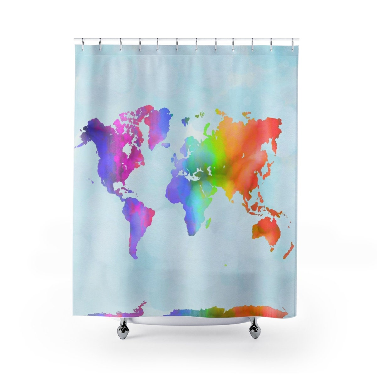 World Map Shower Curtain From Print Watercolor Painting Pastel Pink Blue Sea Green Aqua Teal Turquoise Great For Kids Bath