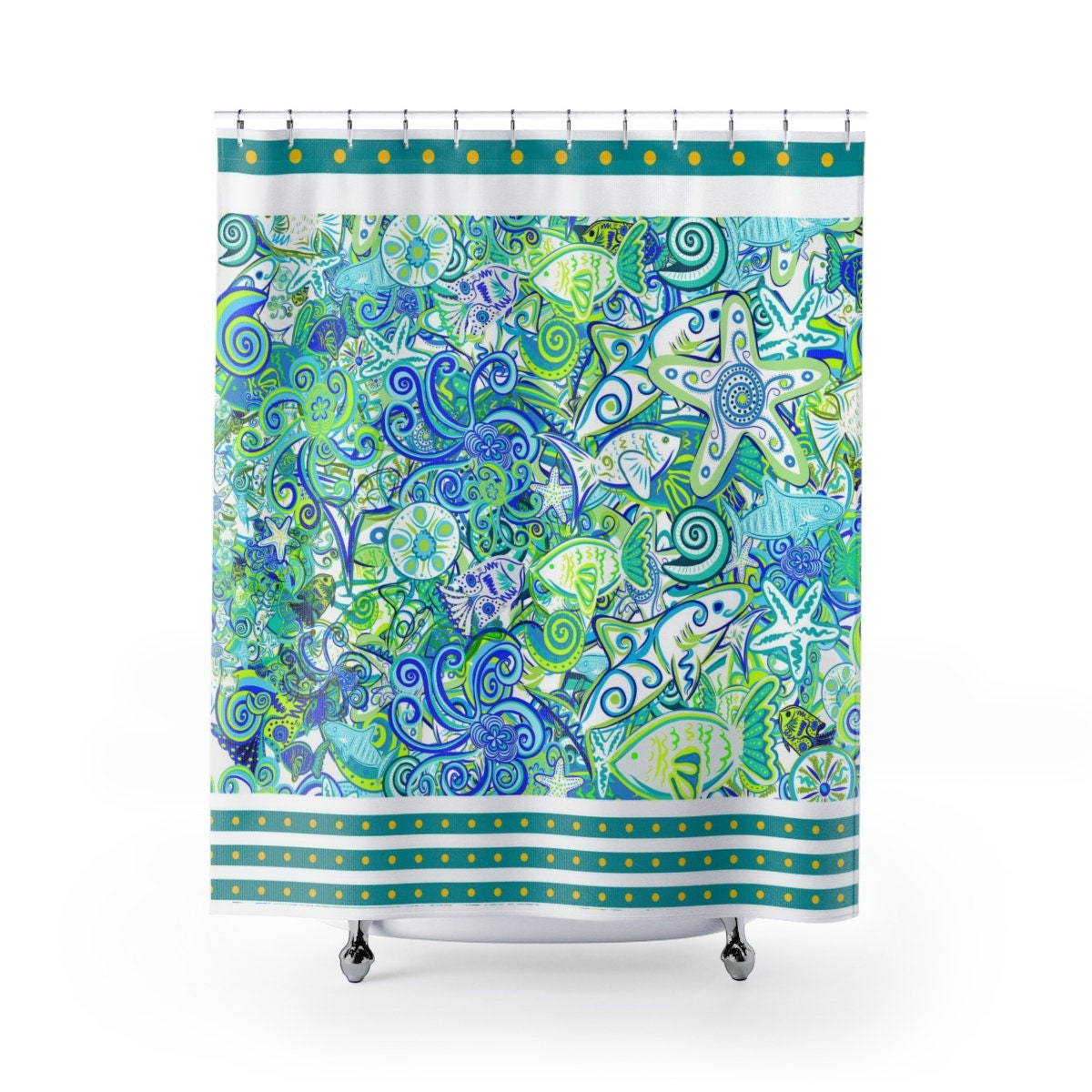 Fish Shower Curtain Nautical Scene Angel Fish Sharks Jellyfish Starfish Sea Snails Underwater Teal Green Turquoise Aqua