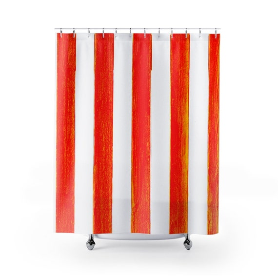 Red White Stripes Shower Curtain Burnt Orange Striped