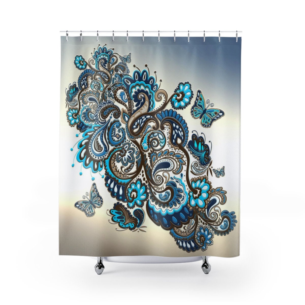 Brown Turquoise Shower Curtain Paisley Butterfly Fabric Shower Curtain Teal Brown Tan Cream Aqua Floral