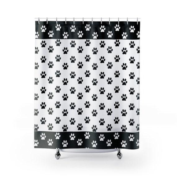Paw Print Shower Curtain Dog Cat Footprint Black And