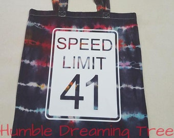 Speed Limit #41 Song Lyrics DMB Dave Matthews Band Tie Dye Summer Tour Tote bag One of a Kind