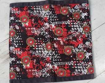 USMC Marines Cloth Reusable Napkins 100% cotton black and red