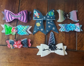 Adorable hair accessories barrettes clips for girls space mad cat Unicorn mermaid embroidered
