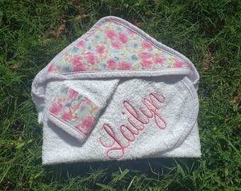 Infant Baby Hooded Bath Towel Floral 100% cotton aden + anais Laura Ashley Embroidered Personalized