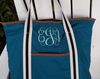 Personalized Embroidered Tote Bag Turquoise Black Aqua White Boy Girl Man Woman Child Beach Pool School bag