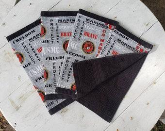 USMC Marines Cloth Reusable Napkins 100% cotton Gray