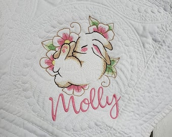 """Embroidered Heirloom Sleeping Bunny Woodland Quilt Baby Girl Shower gift 36""""x46"""" choose your colors! Brand New Made to Order Personalized"""