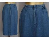 Indigo Blue Denim Skirt, Medium Wash Denim Pencil Skirt, High Waist Mom Skirt, Vintage 80s, Size S Small