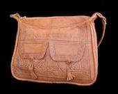 1970s Moroccan Hippie Shoulder Purse, Hand Stamped Leather Purse, Vintage 70s Bohemian Hand Tooled Bag, Goat Skin Handbag
