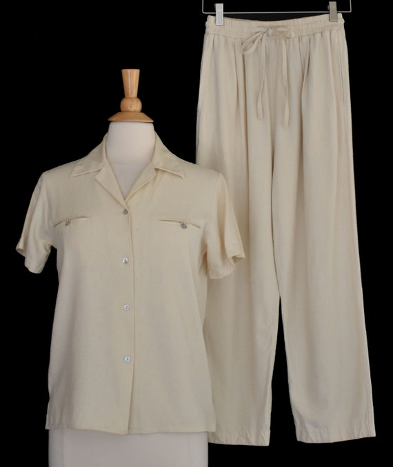 Raw Silk Pantsuit, Cream White Matched Pant Suit S