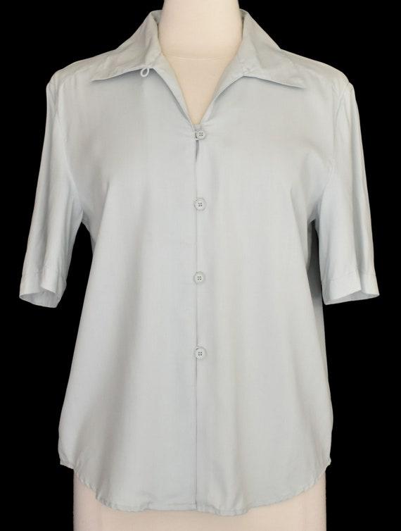 Green Silk Blouse, Pale Green Camp Shirt, Minimal… - image 2