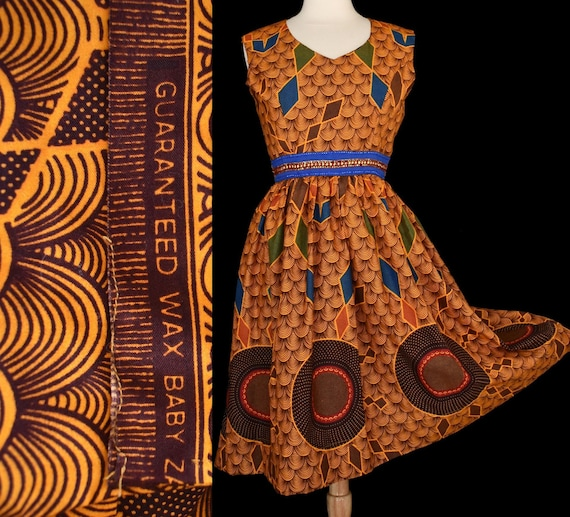 Wax Print Sun Dress, Tiki Tapa Orange Print, Vinta
