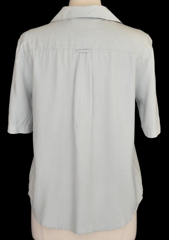 Green Silk Blouse, Pale Green Camp Shirt, Minimal… - image 5