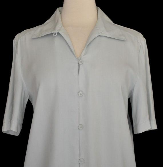 Green Silk Blouse, Pale Green Camp Shirt, Minimal… - image 3