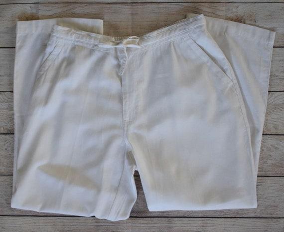 Linen Blend Tie Front Pants, Rayon Blend Trousers,