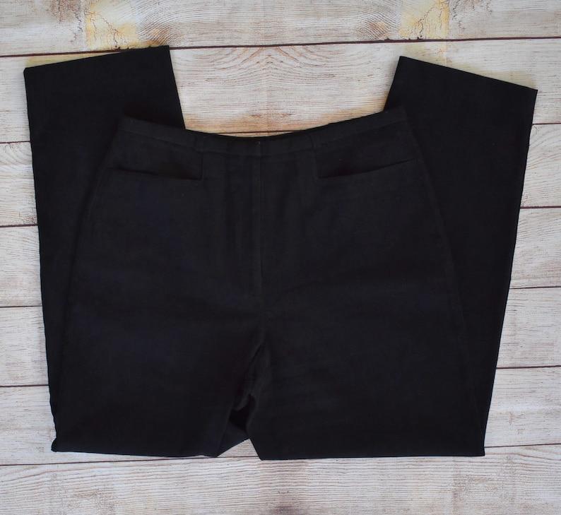 Zip Front Brushed Velvet Trousers Size 12 Black Moleskin Pants Flat Front Casual Pants