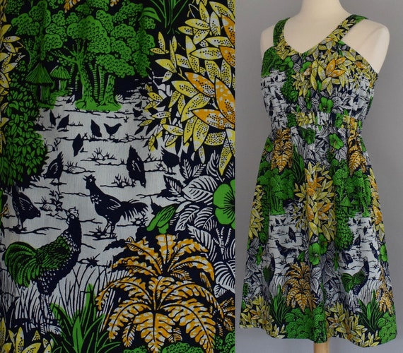Novelty Print Sun Dress, Tropical Scenic Print wit