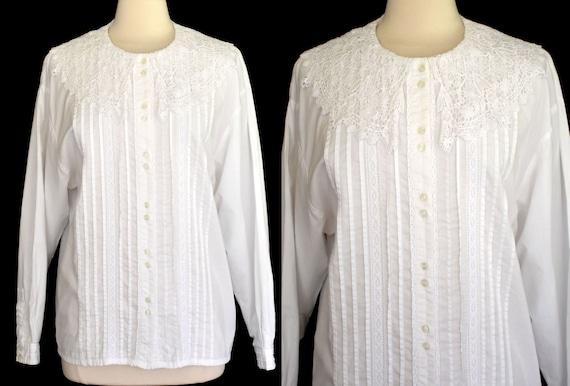 White Cotton Blouse, Lace Collar Romantic Blouse,