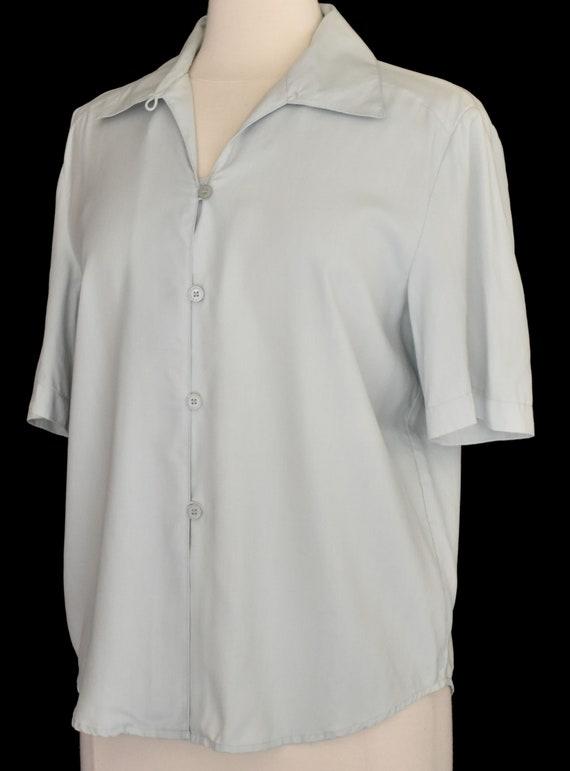 Green Silk Blouse, Pale Green Camp Shirt, Minimal… - image 4